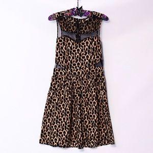 Cheetah print dress with mesh cutouts